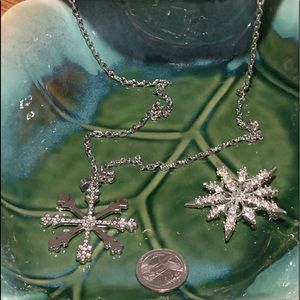 Christmas Snowflake Necklace & brooch